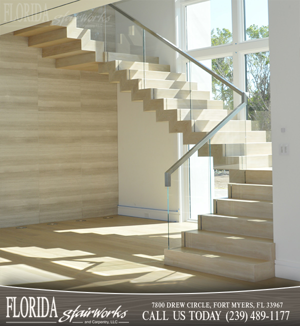 Wood and Glass Stairways in Marco Island Florida